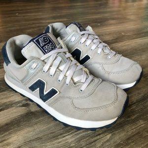 New Balance 574 Pique Polo Gray Navy Shoes